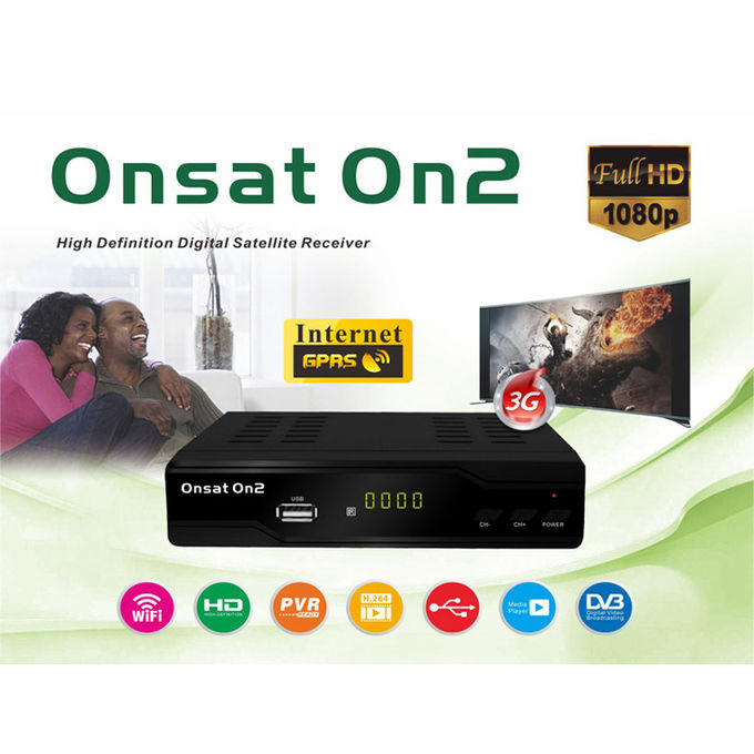 4M Flash HD Satellite Digital Receiver , Ethernet Satellite Receiver DVB-S2 ONSAT ON2
